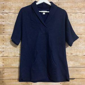 Coldwater Creek XS navy v neck pocket pullover top
